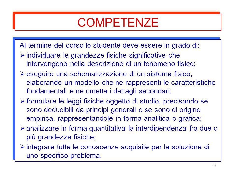 COMPETENZE Al termine del corso lo studente deve essere in grado di: