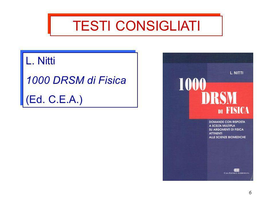 TESTI CONSIGLIATI L. Nitti 1000 DRSM di Fisica (Ed. C.E.A.)
