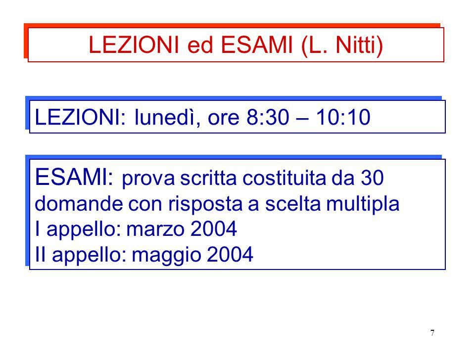 LEZIONI ed ESAMI (L. Nitti)