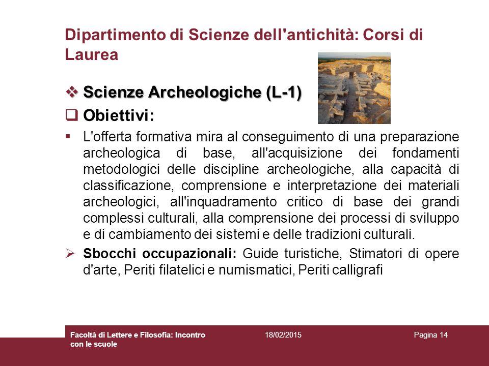 Dipartimento di Scienze dell antichità: Corsi di Laurea