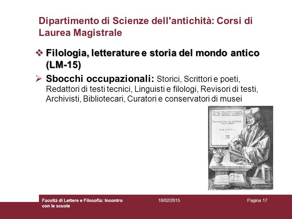 Dipartimento di Scienze dell antichità: Corsi di Laurea Magistrale