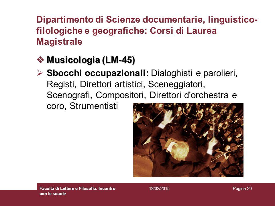 Dipartimento di Scienze documentarie, linguistico-filologiche e geografiche: Corsi di Laurea Magistrale