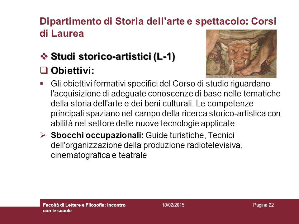 Dipartimento di Storia dell arte e spettacolo: Corsi di Laurea
