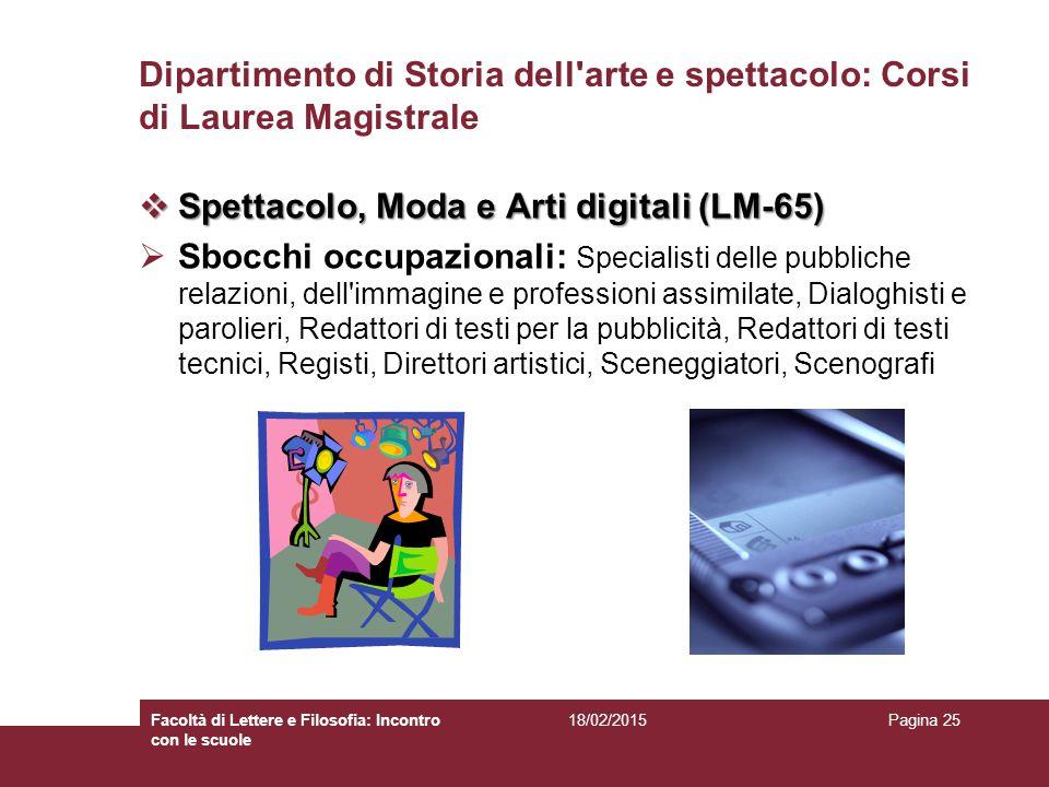 Spettacolo, Moda e Arti digitali (LM-65)