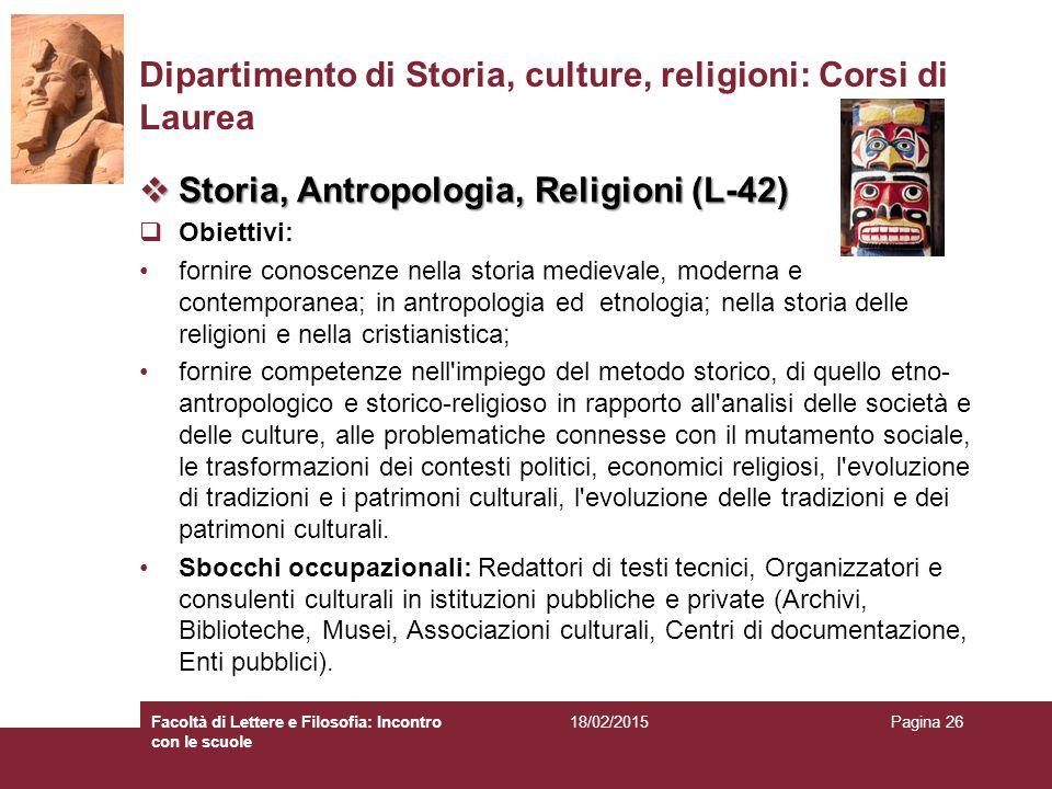 Dipartimento di Storia, culture, religioni: Corsi di Laurea