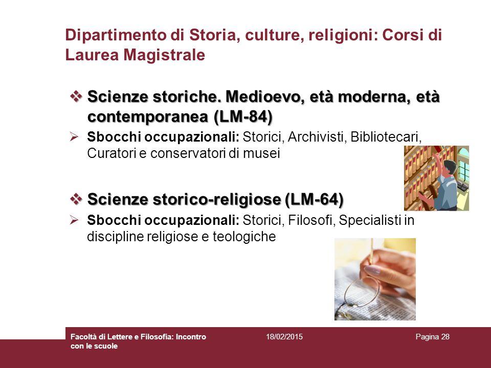 Dipartimento di Storia, culture, religioni: Corsi di Laurea Magistrale