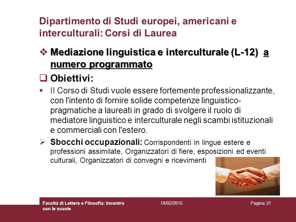 Mediazione linguistica e interculturale (L-12) a numero programmato