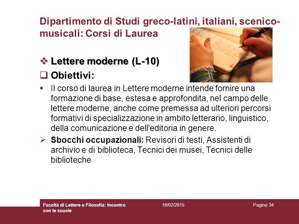 Dipartimento di Studi greco-latini, italiani, scenico-musicali: Corsi di Laurea