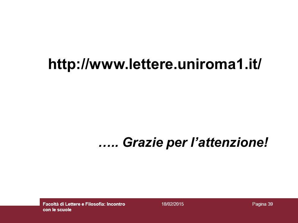 http://www.lettere.uniroma1.it/ ….. Grazie per l'attenzione!
