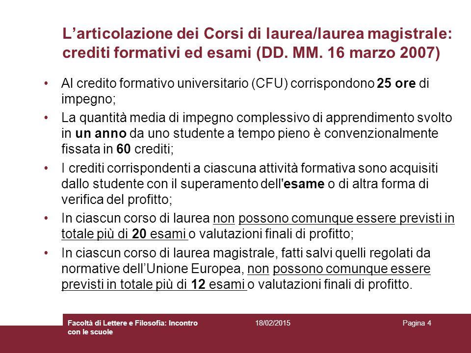 L'articolazione dei Corsi di laurea/laurea magistrale: crediti formativi ed esami (DD. MM. 16 marzo 2007)
