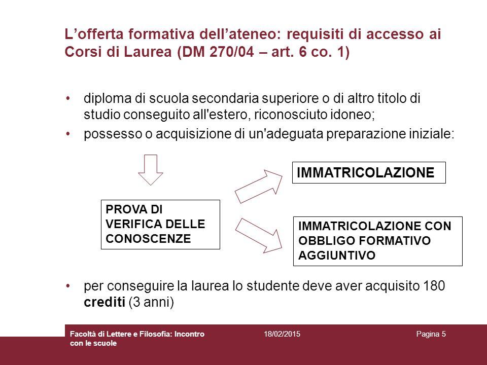 L'offerta formativa dell'ateneo: requisiti di accesso ai Corsi di Laurea (DM 270/04 – art. 6 co. 1)