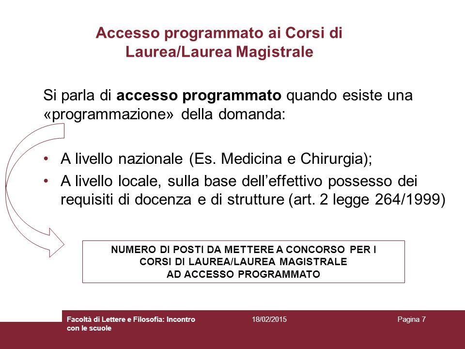 Accesso programmato ai Corsi di Laurea/Laurea Magistrale