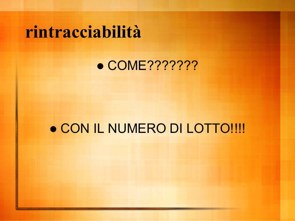 rintracciabilità COME CON IL NUMERO DI LOTTO!!!!