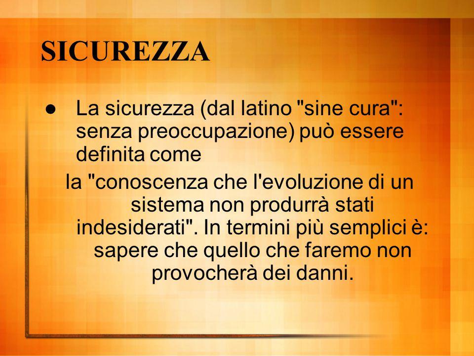 SICUREZZA La sicurezza (dal latino sine cura : senza preoccupazione) può essere definita come.