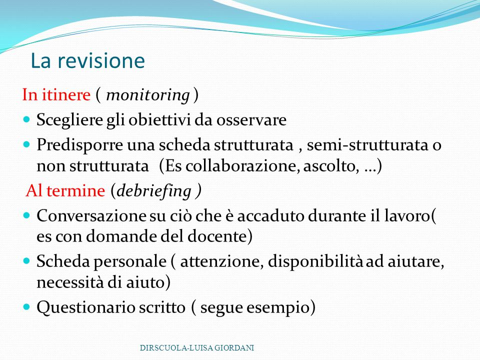 La revisione In itinere ( monitoring )