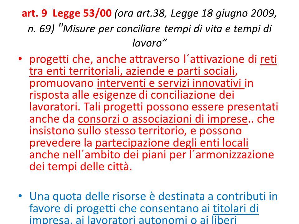 art. 9 Legge 53/00 (ora art. 38, Legge 18 giugno 2009, n