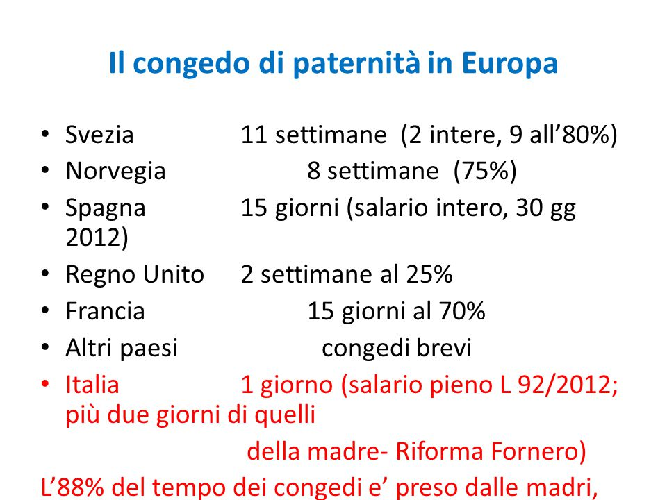 Il congedo di paternità in Europa