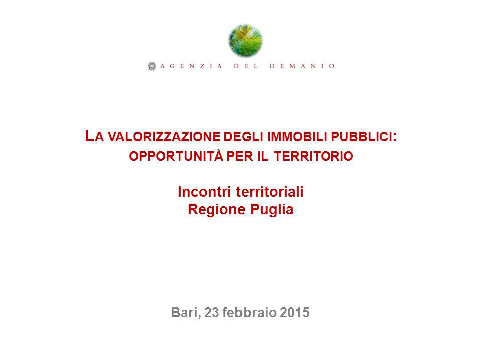 La valorizzazione degli immobili pubblici: opportunità per il territorio Incontri territoriali Regione Puglia