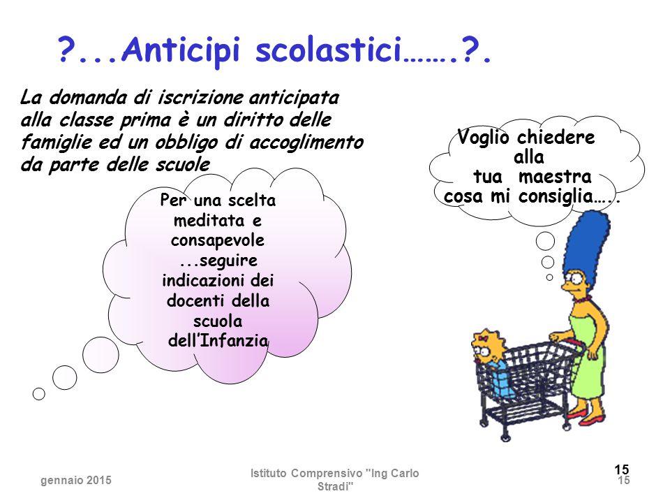 ...Anticipi scolastici……. . Istituto Comprensivo Ing Carlo Stradi