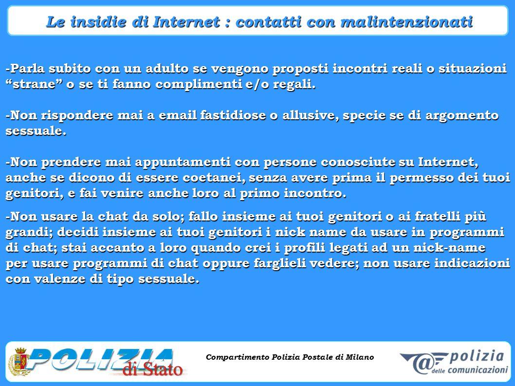 Le insidie di Internet : contatti con malintenzionati
