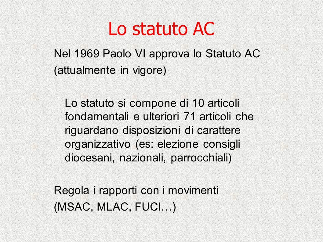 Lo statuto AC Nel 1969 Paolo VI approva lo Statuto AC