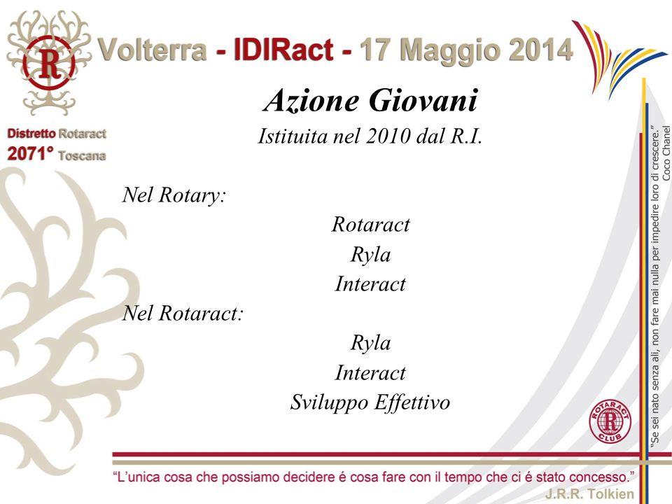 Azione Giovani Istituita nel 2010 dal R.I. Nel Rotary: Rotaract Ryla