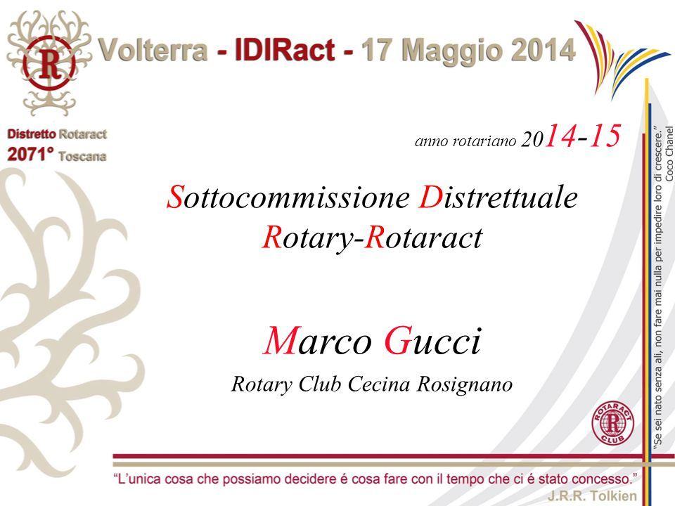 Marco Gucci Sottocommissione Distrettuale Rotary-Rotaract