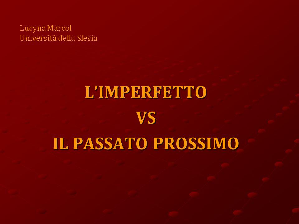 L'IMPERFETTO VS IL PASSATO PROSSIMO