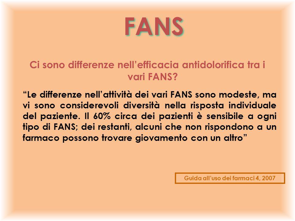 FANS Ci sono differenze nell'efficacia antidolorifica tra i vari FANS