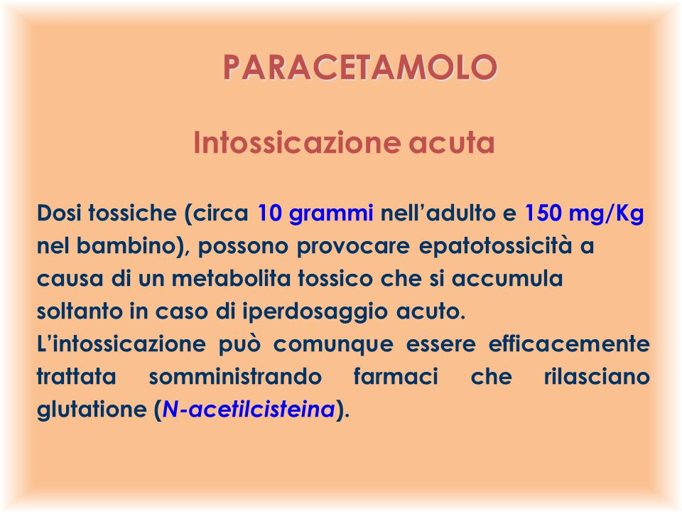 PARACETAMOLO Intossicazione acuta
