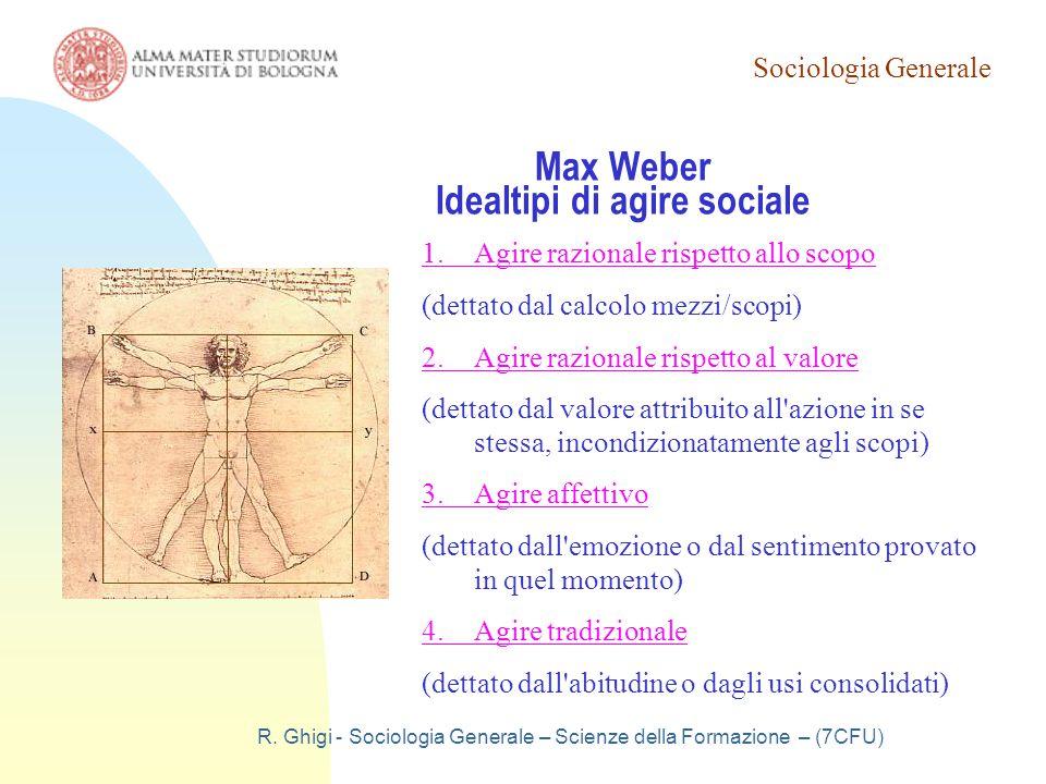 Max Weber Idealtipi di agire sociale