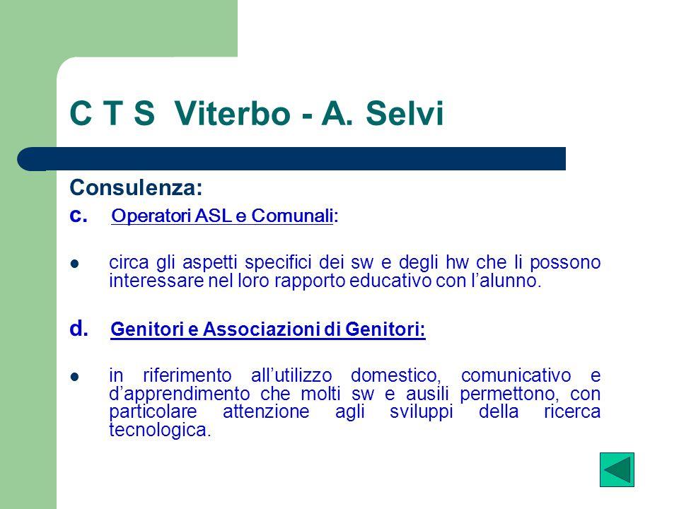 C T S Viterbo - A. Selvi Consulenza: c. Operatori ASL e Comunali: