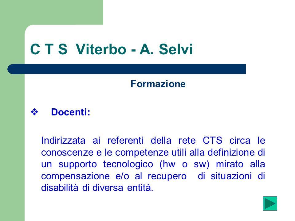 C T S Viterbo - A. Selvi Formazione v Docenti: