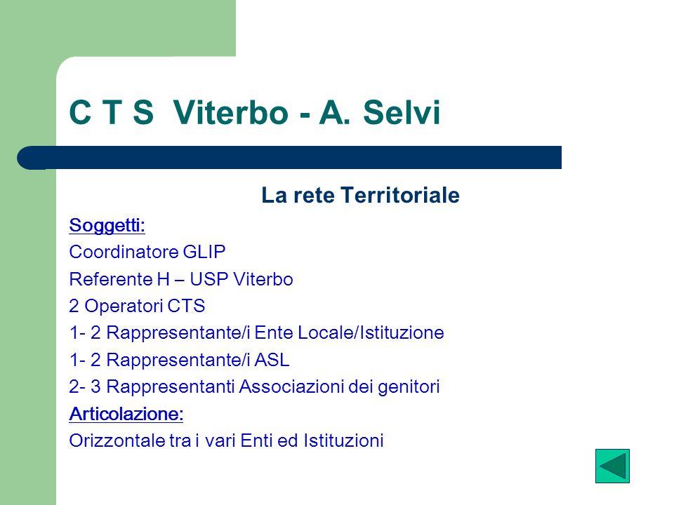 C T S Viterbo - A. Selvi La rete Territoriale Soggetti: