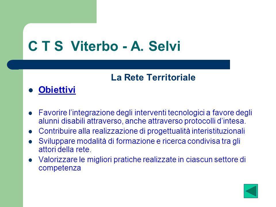 C T S Viterbo - A. Selvi La Rete Territoriale Obiettivi
