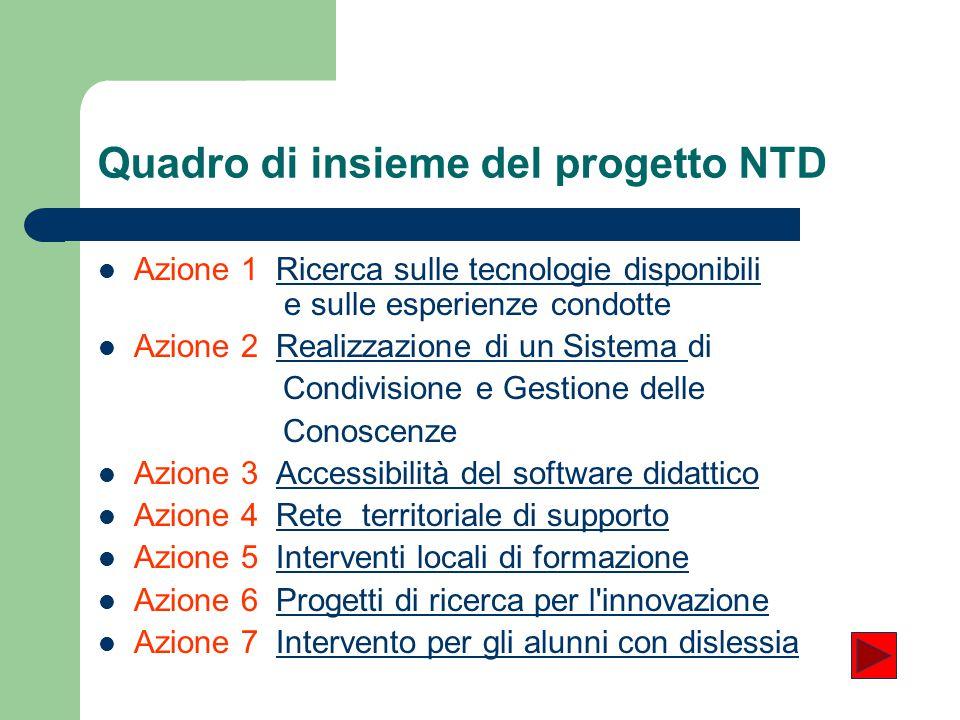Quadro di insieme del progetto NTD