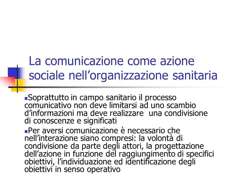 La comunicazione come azione sociale nell'organizzazione sanitaria