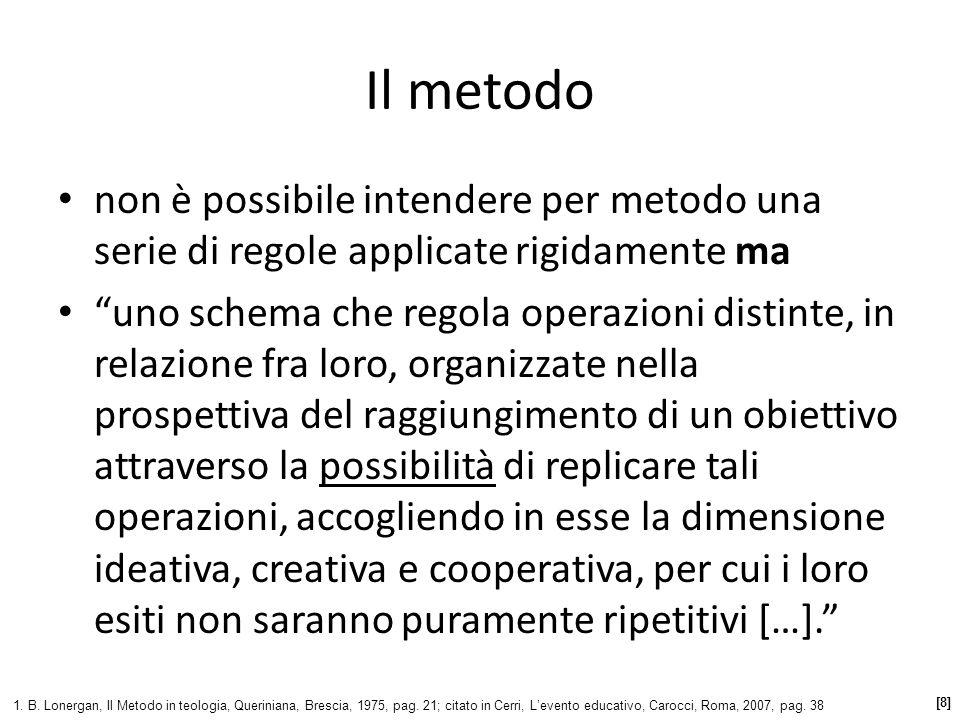Il metodo non è possibile intendere per metodo una serie di regole applicate rigidamente ma.