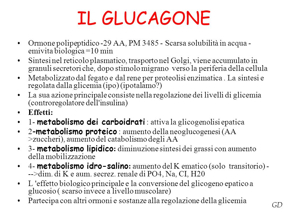 IL GLUCAGONE Ormone polipeptidico -29 AA, PM 3485 - Scarsa solubilità in acqua -emivita biologica =10 min.