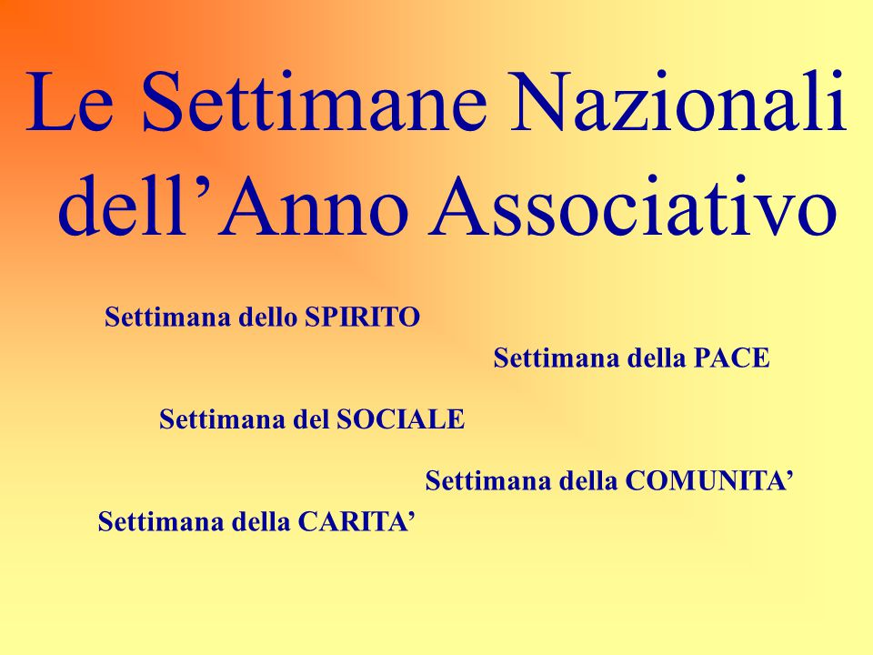 Le Settimane Nazionali dell'Anno Associativo