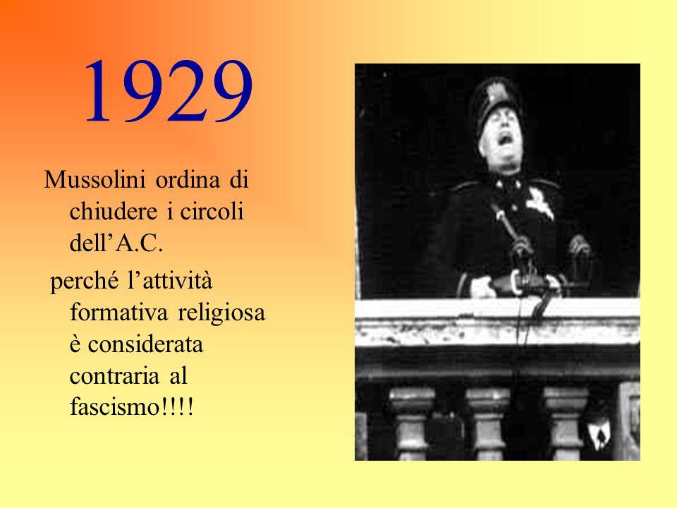 1929 Mussolini ordina di chiudere i circoli dell'A.C.