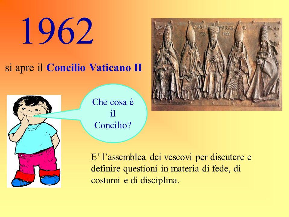 1962 si apre il Concilio Vaticano II. Che cosa è il Concilio