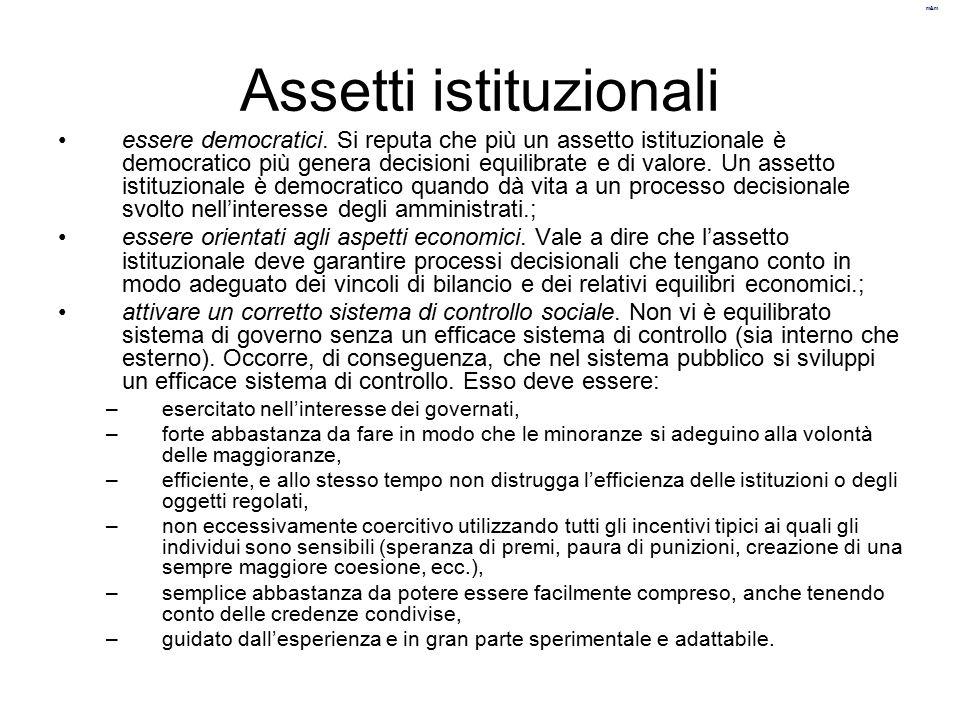 Assetti istituzionali