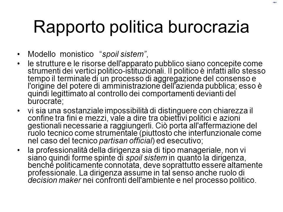 Rapporto politica burocrazia