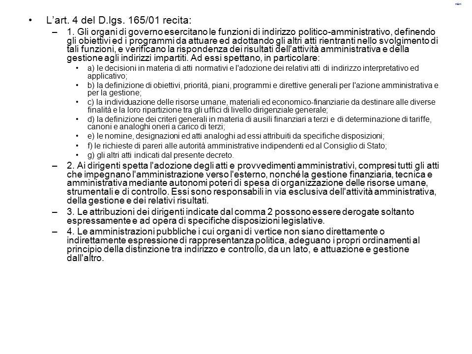L'art. 4 del D.lgs. 165/01 recita: