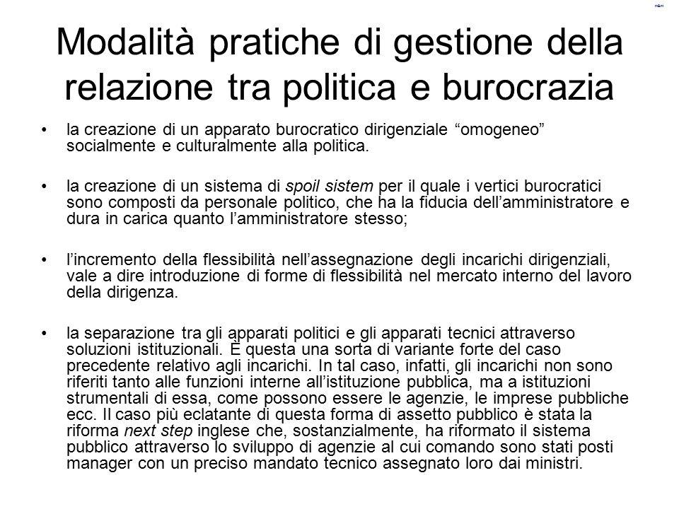 Modalità pratiche di gestione della relazione tra politica e burocrazia