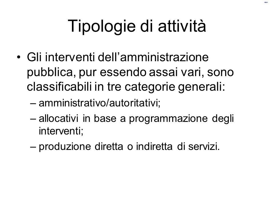 Tipologie di attività Gli interventi dell'amministrazione pubblica, pur essendo assai vari, sono classificabili in tre categorie generali:
