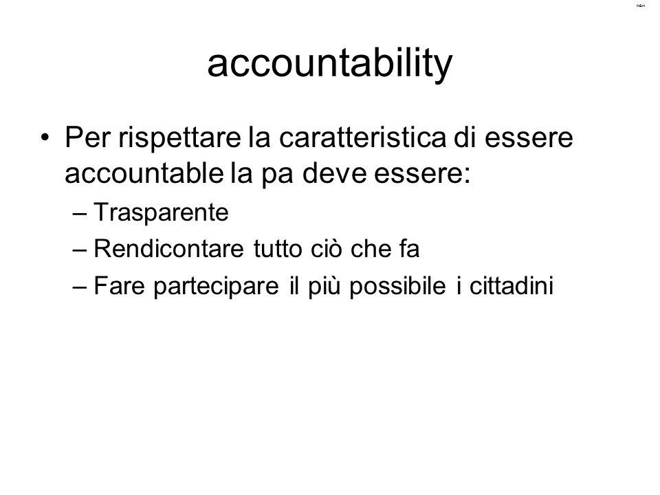 accountability Per rispettare la caratteristica di essere accountable la pa deve essere: Trasparente.