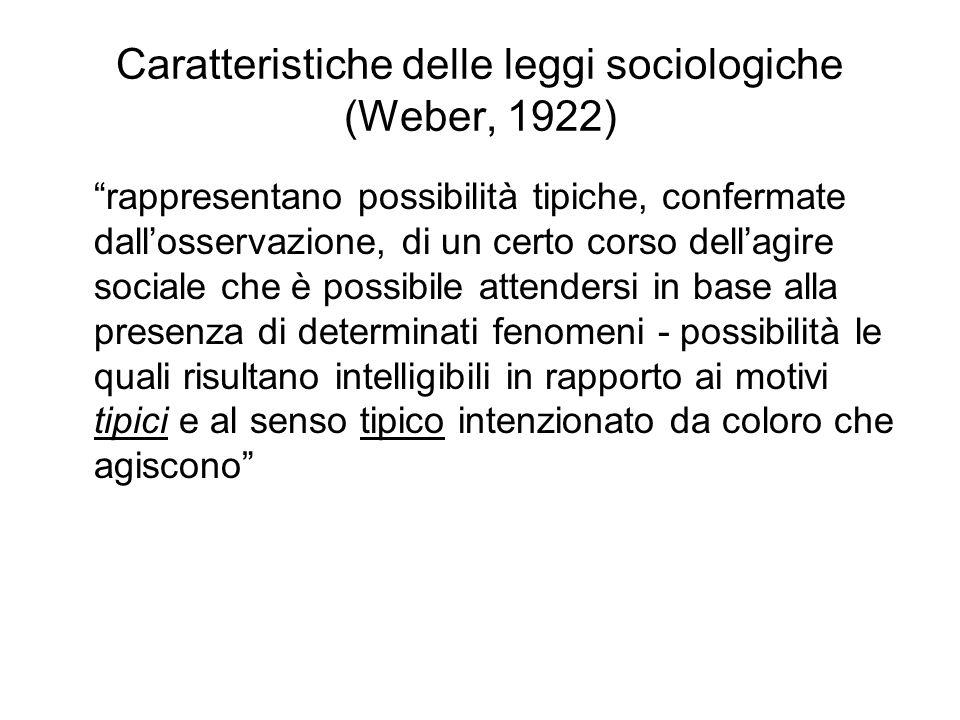 Caratteristiche delle leggi sociologiche (Weber, 1922)