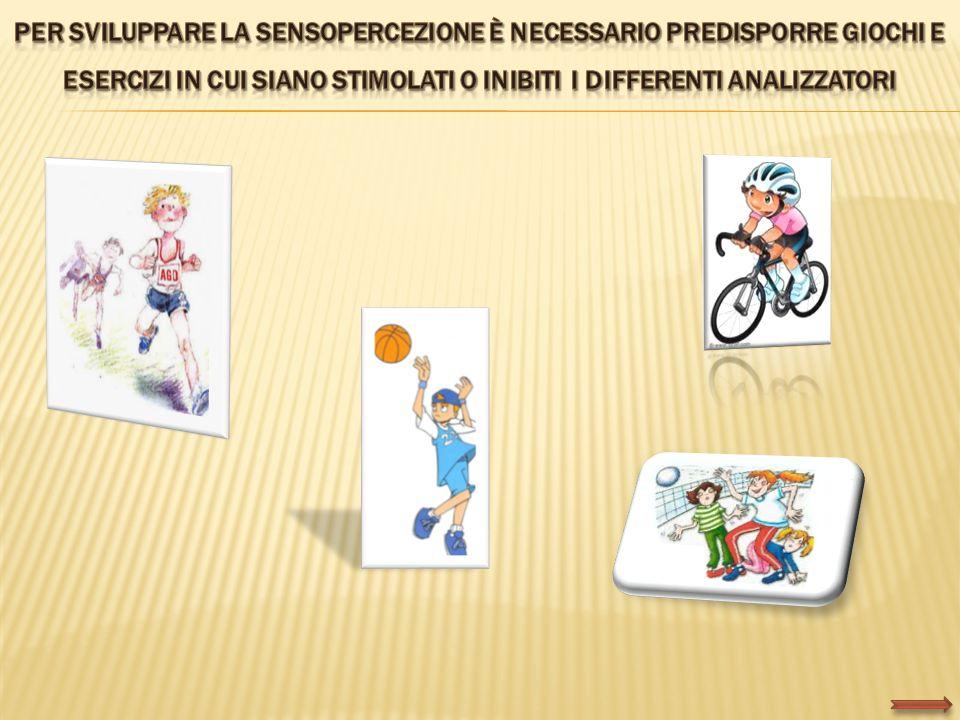 Per sviluppare la sensopercezione è necessario predisporre giochi e esercizi in cui siano stimolati o inibiti i differenti analizzatori
